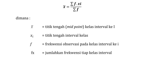 Rumus mean data berkeleompok